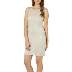 A. Byer Juniors Shimmery Lace Sheath Dress