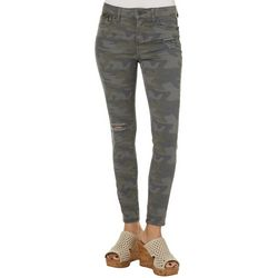 Vanilla Star Juniors Destructed Camo Print Skinny Jeans