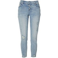 Vanilla Star Juniors 3-Button Distressed Skinny Jeans