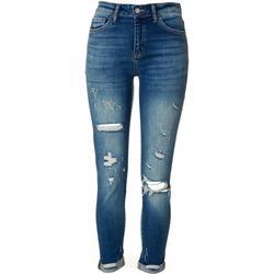 Juniors Mid Rise Cuffed Skinny Jeans