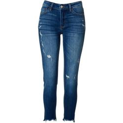Juniors Mid Rise Frayed Hem Jeans