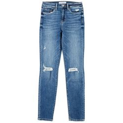 Flying Monkey Womens Distressed High Rise Skinny Jeans