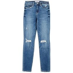 Womens Distressed High Rise Skinny Jeans