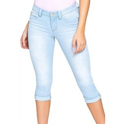 Royalty by YMI Womens WannaBettaButt Roll Cuff Denim Capris