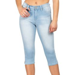 YMI Juniors WannaBettaButt Faded Denim Mid Rise Capris