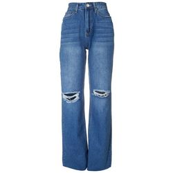 YMI Juniors Knee Distressed Straight Leg Jeans
