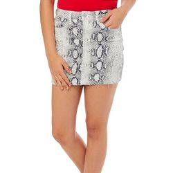 YMI Juniors High Rise Snake Skin Print Denim Skirt