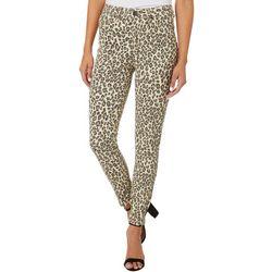 Juniors Mid Rise Leopard Print Ankle Jeans