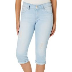 YMI Juniors WannaBettaButt Destructed Roll Cuff Denim Capris