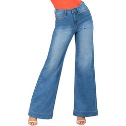 Juniors Solid High Rise Wide Leg Jeans