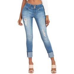 YMI Juniors WannaBettaButt Whiskered Mega Cuff Jeans