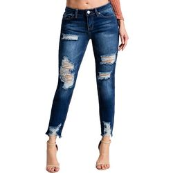 YMI Juniors Frayed Destructed Ankle Jeans