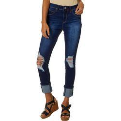 YMI Juniors WannaBettaButt Solid Whiskered Mega Cuff Jeans