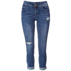 Juniors WannaBettaButt 2 Button Mid Rise Roll Cuff Jeans