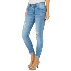 YMI Juniors WannaBettaButt Distressed Roll Cuff Ankle Jeans