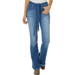 YMI Juniors Solid Frayed Hem Belted Flare Leg Jeans