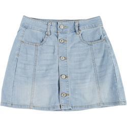 Juniors Button Front Denim Skirt