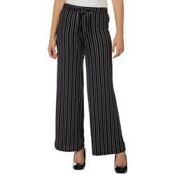Hot Kiss Juniors Belted Slash Striped Wide Leg Pants