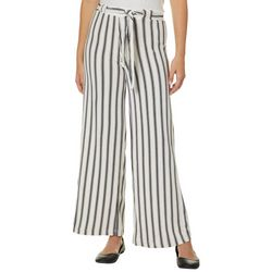Hot Kiss Juniors Belted Vertical Striped Wide Leg Pants