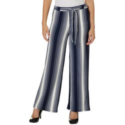 Hot Kiss Juniors Belted Thick Striped Wide Leg Pants