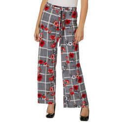 Hot Kiss Juniors Belted Floral Plaid Wide Leg Pants