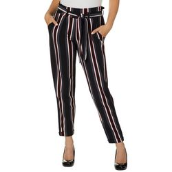 Hot Kiss Juniors Belted Striped Roll Cuff Pants