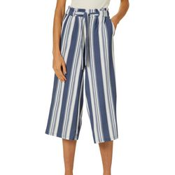 Hot Kiss Juniors Vertical Stripe Belted Gaucho Pants