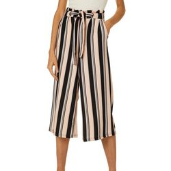 Hot Kiss Juniors Belted Striped Gaucho Pants