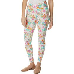Juniors Pink Multi Tropical Floral Print Leggings