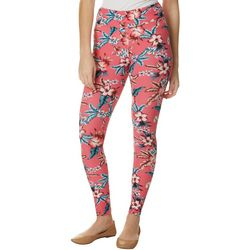 Juniors Pink Tropical Floral Print Leggings