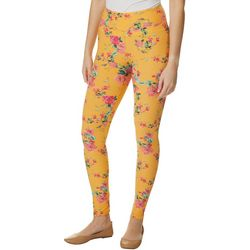 Juniors Pink Floral Print Leggings