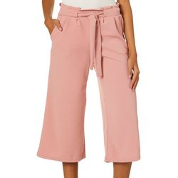 Hot Kiss Juniors Belted Solid Wide Leg Gaucho Pants