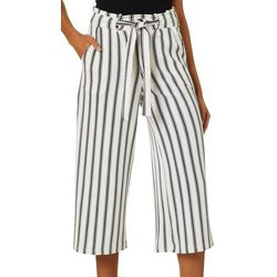 Hot Kiss Juniors Belted Vertical Stripe Gaucho Pants