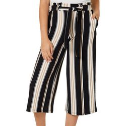 Hot Kiss Juniors Belted Stripe Wide Leg Gaucho Pants