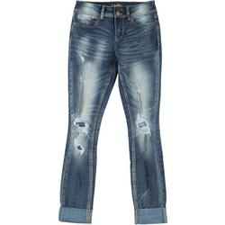 Juniors Mid Rise Roll Cuff Distressed Jeans