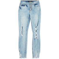 Juniors Parker Button Fly Distressed Jeans