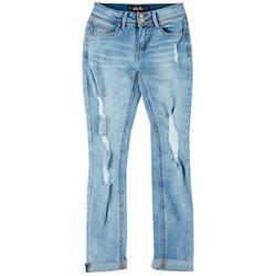 Flying Monkey Juniors Distressed Cuffed Skinny Jeans