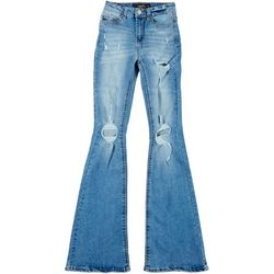 Indigo Rein Juniors High Rise Wide Leg Distressed Jeans