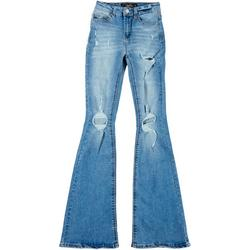 Juniors High Rise Wide Leg Distressed Jeans