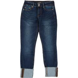 Juniors Mid Rise Ankle Cuffed Jeans