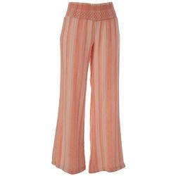 Indigo Rein Juniors Coral Pink Multi Vertical Stripes Pants