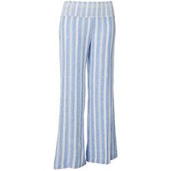 Juniors Blue Wide Vertical Stripes Pants