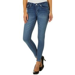 Indigo Rein Juniors Whiskered Roll Cuff Skinny Jeans