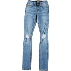 Indigo Rein Juniors Double Button Distressed Jeans