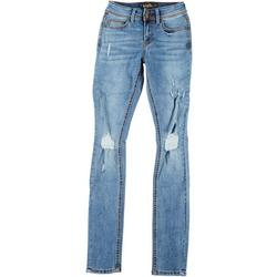 Juniors Double Button Distressed Jeans