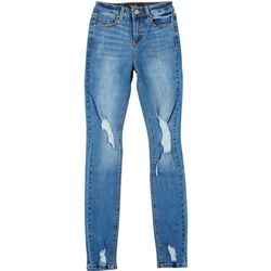 Indigo Rein Juniors Single Button Distressed Jeans