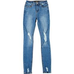 Juniors Single Button Distressed Jeans