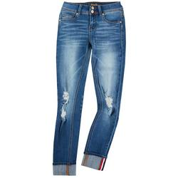 Juniors Knee Destruction Rolled Cuff Jeans