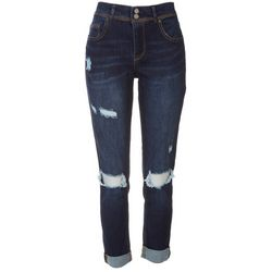 Indigo Rein Juniors Body Support Ripped Ankle Jeans