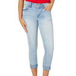 Indigo Rein Juniors Destressed Roll Cuff Cropped Jeans